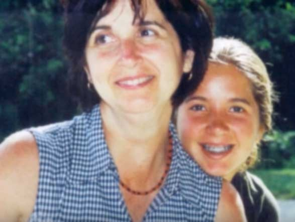 Shelly Sanders with mother in old family photograph.
