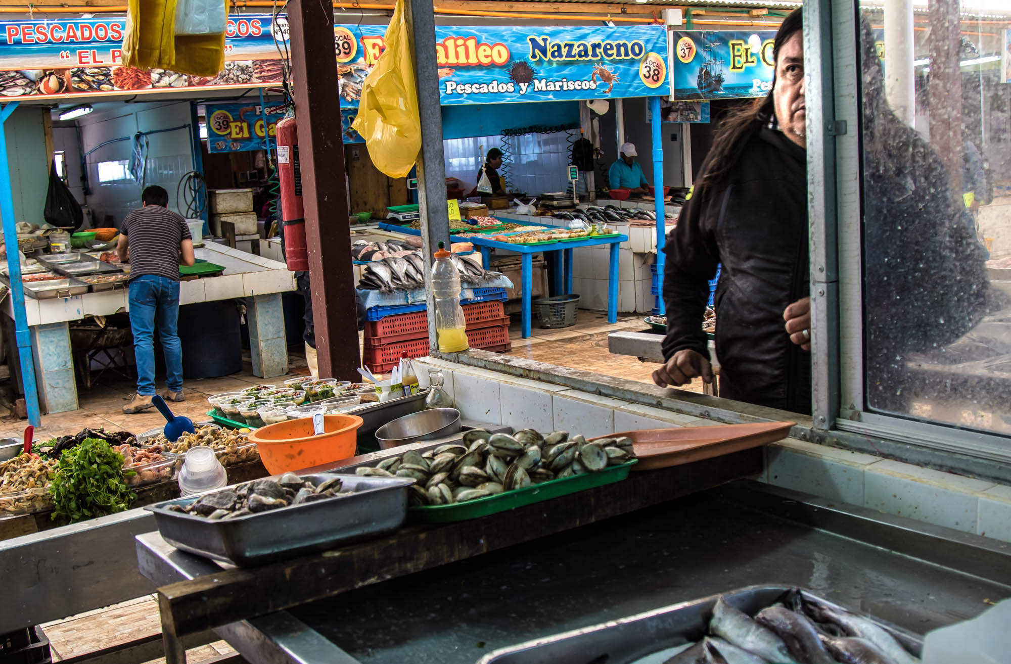 Tucked away behind the Coquimbo port are dozens full of pop up markets run by the fisherman to sell their fish. A customer stops by Harry Gloria's pop-up market to pick up fish from the morning's catch. Harry Gloria was one of the fishermen in Coquimbo who lost everything in the 2015 tsunami. Gloria says he continues to fish because he loves it despite it being a lot tougher with limited resources. He keeps a picture book of all of the damage to his boat, market, supplies, and restaurant. When asked why he keeps those devastating images with him at all times he says: It's my responsibility to tell anyone who will listen about the tsunami. No one heard about it. No news talked about it. The pictures are simply a way to prove to people that this actually happened to Coquimbo.""